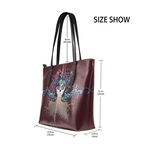 In Fashion Totes Handle Purses Sugar Top Shoulder PU Handbag Leather Bags Flower Skull Crown Women's TIZORAX Girl Rt1zZxnR