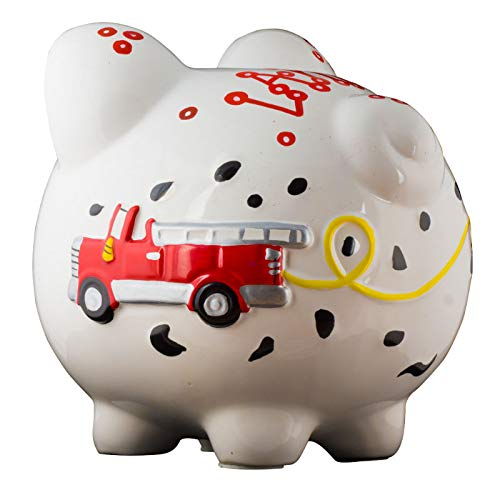 Firetruck Boys Piggy Bank - Large - (Personalized & Custom With Name And Year) (First Financial Toy For Teaching Boys & Girls About Saving Money) (Perfect Unique Gift Idea For Babys 1st Birthday) by HolidayTraditions (Image #5)