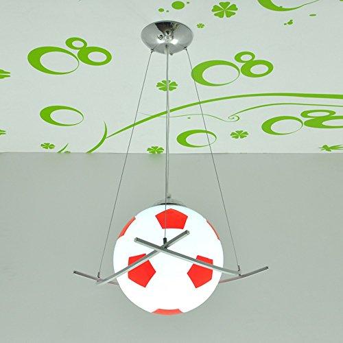Glass Light Childrens Pendant (Creative Modern Minimalist Football Glass Pendant Lamp Children Room Decoration Chandeliers Living Room Sports venues Bar Adjustable Soccer Ceiling Light E27 (black + White) ( Color : Red ))