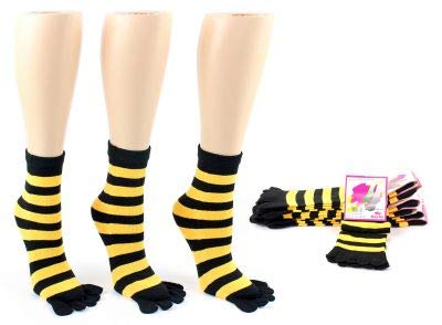 Girls Bumble Bee Black /& Yellow//Gold Stripped TOE Socks 3 Pair Set