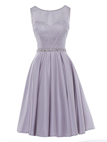Beaded Cocktail Gown - Tanpell Women's Scoop Neck Lace Beaded Short Prom Gowns Cocktail Party Dress Silver 8