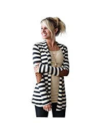 Changeshopping Women Casual Long Sleeve Striped Cardigans Patchwork Outwear