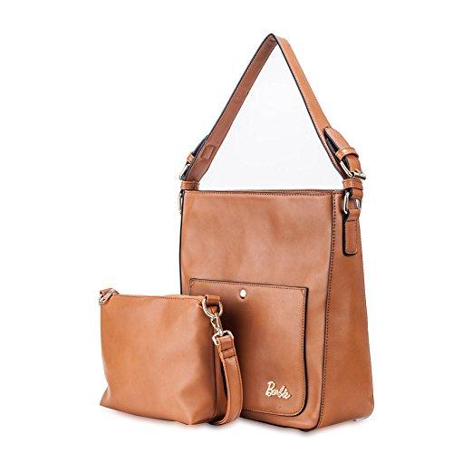 Barbie Bolso bandolera y baguette elegante de estilo chicas bolso casual con borlas para mujer BBFB578 30x10x30.5CM marrón