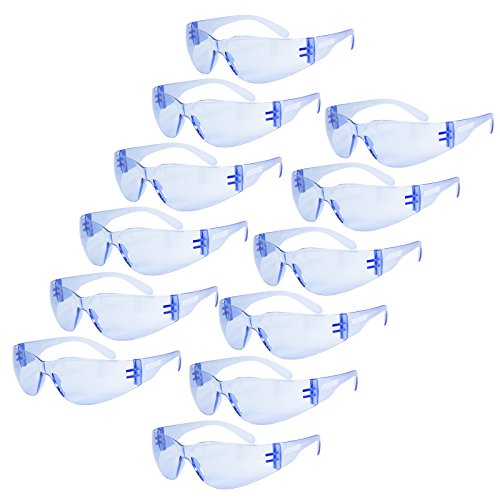 JORESTECH Eyewear Protective Safety Glasses, Polycarbonate Impact Resistant Lens Pack of 12 (Blue)