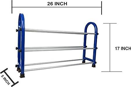 Perfectforyou Multipurpose Foldable Movable Modern 3 Layer Steel Metal Shelves/Rack Storage Cabinet Organizer  Blue  Collapsible Shoe Racks