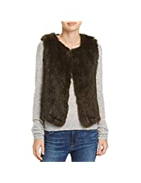 525 America Womens Rabbit Fur Open Front Casual Vest