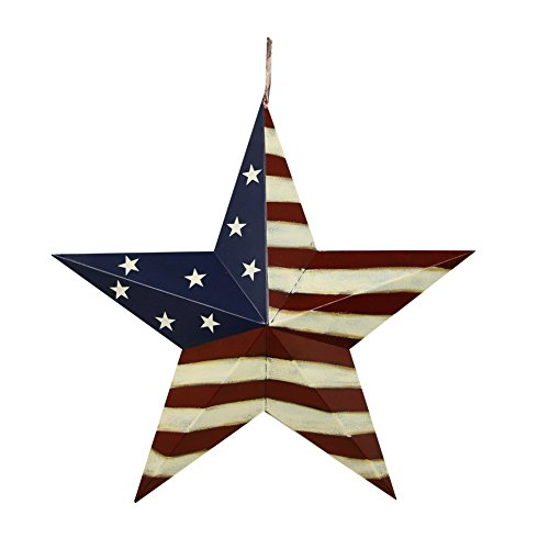 (Attraction Design Patriotic Metal Barn Star Wall Decor, 22inch Hanging Country Rustic Metal Star for July 4th Decoration)