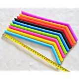 Vistaric 6pcs/lot with 2pcs Brush, 25CM Length Silica Gel Drinking Straw, BPA-Free Silicone Straw for Children, Fruit Juice Straw plumyl: Mix 6color