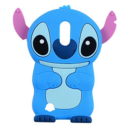 Blue Stitch Case for LG K20 V,LG K20 Plus,LG Harmony,LG V5/Grace 3D Cartoon Animal Character Unique Design Cute Soft Rubber Silicone Kawaii Cover, Funny Cool Cases for Kids Boys Teens Girls (K10 2017)