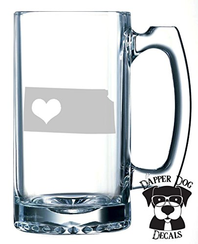 Kansas Pride I Heart My State Art Personalized Custom Hand Etched Mug 25 oz Beer Stein Glass Cup Great Gift]()