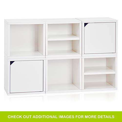 Way Basics ​6 ​Modular 3​-​in​-​1 Shelf Connect Cube Storage System, White (Tool-Free Assembly and Uniquely Crafted from Sustainable Non Toxic zBoard paperboard)