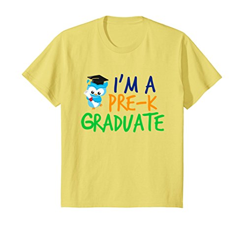 Kids Cute Preschool Graduation T-Shirt - Owl Pre-K Graduate 4 Lemon