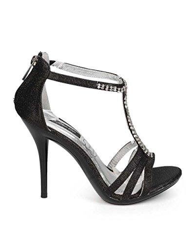 Stiletto Open Formal Black Cathy Din Women EC38 Rhinestone Sandal Toe Glitter T Strap ITq46ZwTv