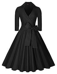 Miusol Women's Vintage Deep-V Neck Half Sleeve Bow Belt Casual Swing Dress (3249)