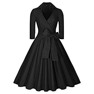 Miusol Women's Deep-V Neck Half Sleeve Bow Belt Vintage Classical Casual Swing Dress