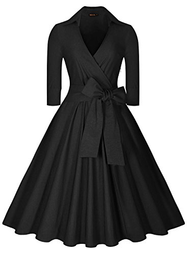 Miusol Deep-V Neck Half Sleeve Bow Belt Vintage Classical Casual Swing Dress, Black, Large (Vintage Vneck Dress)