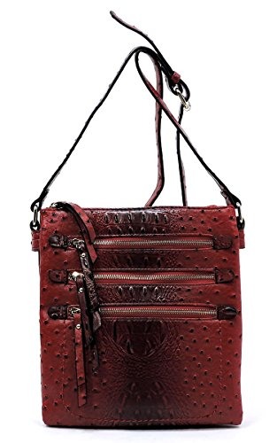 Bag Pocket Red Double Elphis Zipper Crossbody Day Messenger Compartments Multi Bag Ostrich Satchel Croc Purse aFxvqfZ