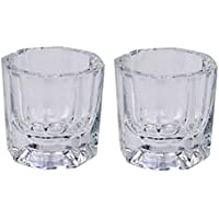 LASSUM 2PCS Nail Art Acrylic Liquid Powder Dappen Dish Glass Crystal Cup Glassware Nail Art Tools