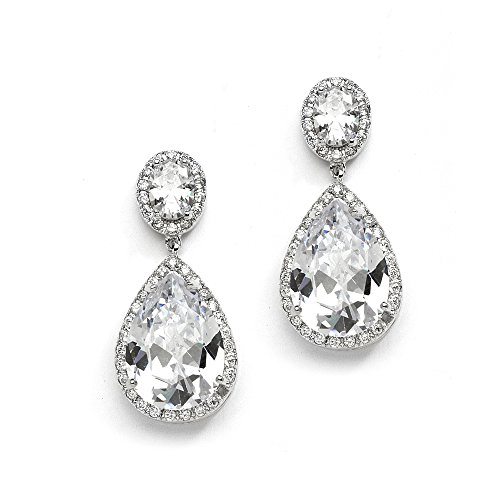 Mariell Teardrop Pear Shape Clip On CZ Wedding Bridal Earrings with Oval Halos - Platinum Plated Dangles