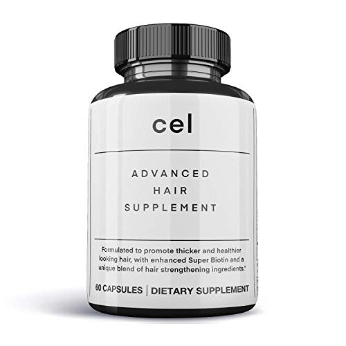 Cel MD Advanced Hair Supplement | Hair Vitamins for Thicker Fuller Hair Growth | Collagen Peptides with Super Biotin (60 Tablets)