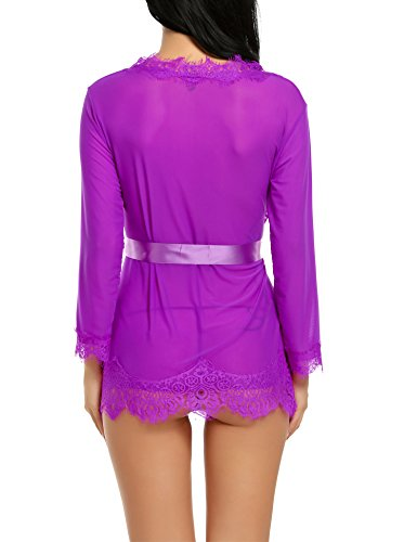 Avidlove Women's Lace Kimono Robe Mesh Babydoll Lingerie Chemise Purple S by Avidlove (Image #6)