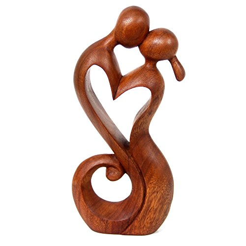 NOVICA Brown Romantic Suar Wood Sculpture , 11.75