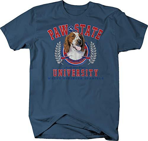 Paw State University Welsh Springer Spaniels Dog Puppy Family Tshirt - Large Denim