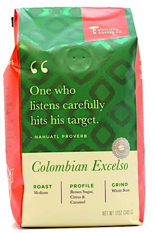 Colombian Excelso Whole Bean Arabica Coffee, Medium Roast, Premium Gourmet Coffee (12oz vented bag)