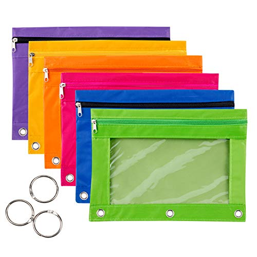 6 Pieces Binder Pencil Pouch with Zipper Pulls 3-Ring with Clear Window Pencil Case with Binder Rings