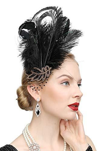 Burlesque Halloween Hair (1920s Peacock Headpiece Feather Costume Hair Clip Flapper Headpiece Hat Accessory)