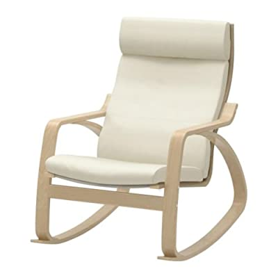 IKEA Rocking Chair Birch Veneer Frame Leather Off White Cushion