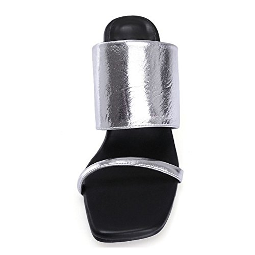 Toe Heel Block Women Open Fashion Slippers Silver COOLCEPT Shoes 7nCOqfw7H