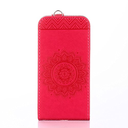 Für Apple iPhone 7 (4,7 Zoll) Tasche ZeWoo® Ledertasche Kunstleder Brieftasche Hülle PU Leder Schutzhülle Case Cover - GH011 / Rote