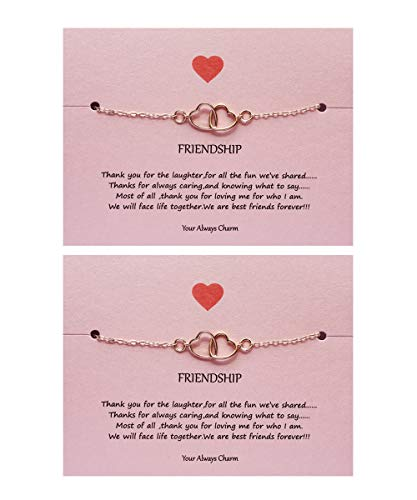 Your Always Charm Double Heart Infinity Knot of Friendship Bracelets (2 Rose Gold Heart to ()