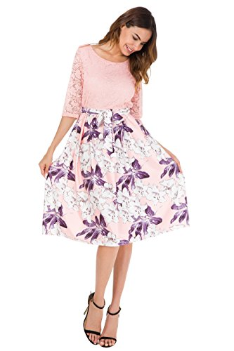 Womens Vintage Printed Cocktail Evening