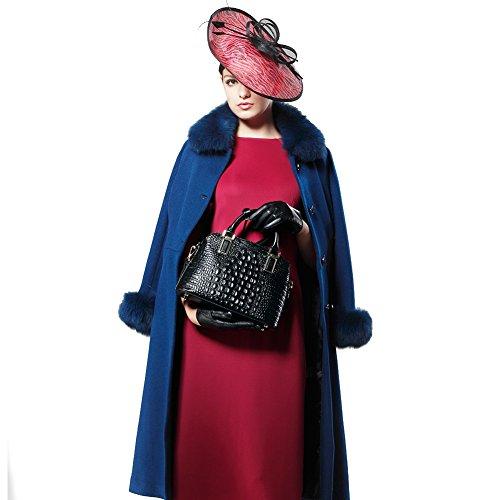 à en cuir Femmes Black Sacs en supérieure à de en crocodile peau véritable main poignée à Sacs vache main Sac OwOqrI0