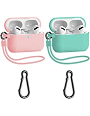 Meiyasy Case Cover is Compatible with Apple Airpods Pro, with Carabiner, 2 Pack Protective Silicone Cover Accessories for Airpods Pro Case (Pink and Light Green