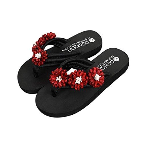 Hatop Mode Kvinnor Blomma Anti-sladd Platta Klack Sandaler Toffel Stranden Skor Röd