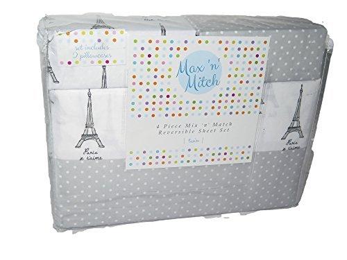 Max N Mitch Paris Eiffel Tower Polka Dot Gray White 2 Reversible Sheet Set (Sheets Twin Paris)