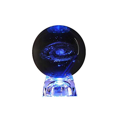 Galaxy Crystal Ball,Clear Crystal Ball 3D Galaxy Glass Ball Sphere with Base Kids Gifts,Teacher Gifts,Anniversary,Birthday Gift