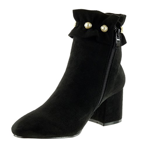 Angkorly - damen Schuhe Stiefeletten - Reitstiefel - Kavalier - Perle Blockabsatz high heel 6.5 CM Schwarz
