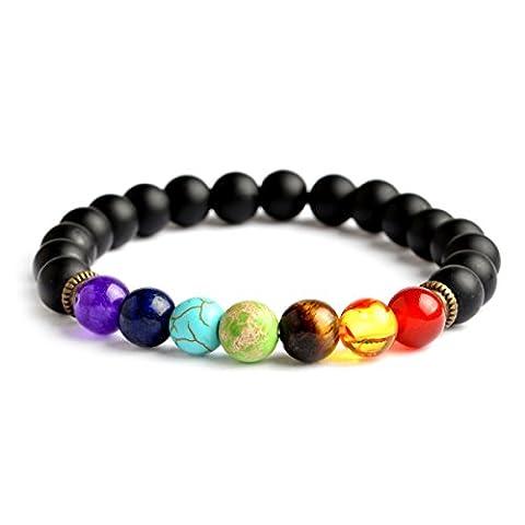 QIHOO Men and Women 7 Chakra Yoga Meditation Mala Healing Volcanic Lava Natural Stone Bracelet Bangle (Black - Onyx Stone Bangles