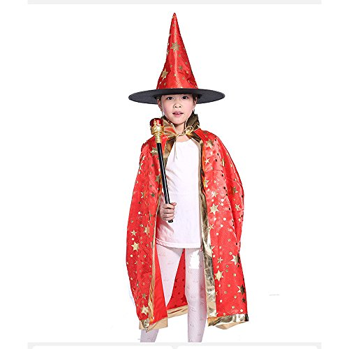 Adult Witch Halloween Costumes (Teddy Spirit Halloween Costumes Witch Wizard Cloak with Hat for Kids Boys Girls (Red))