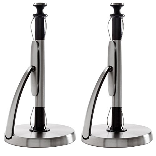 Oxo Stainless Steel Paper Towel Holder - OXO Good Grips SimplyTear Standing Paper Towel Holder, Brushed Stainless Steel (2 Pack)