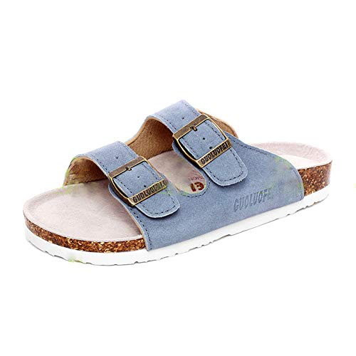 Asifn Women's Sandal Cork Sandals Slide Flat Strap Buckle Girl Leather Footbed Adjustable Casual Double Toe Shoes Summer Open Platform Suede Slides Blue(7 US Men/8 US Women,24.5 cm Heel to Toe