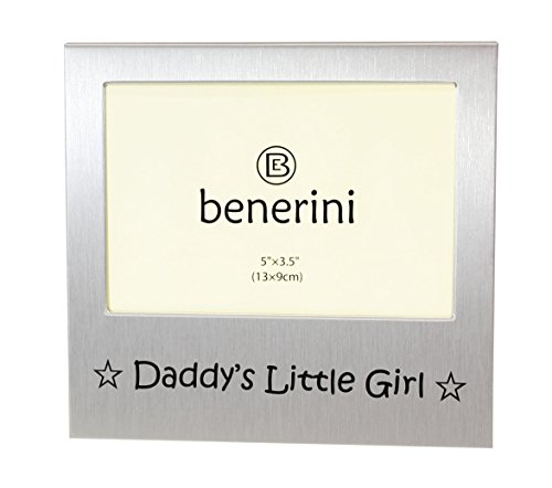 benerini Daddy's Little Girl ' - Expressions Photo Picture Frame Gift - 5 x 3.5 - Brushed Aluminum Satin Silver Color