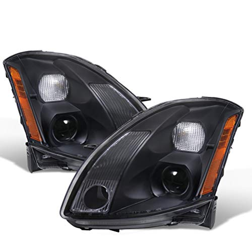 For 04-06 Nissan Maxima Projector Replacement Black Pair Headlights Headlamps Amber ()