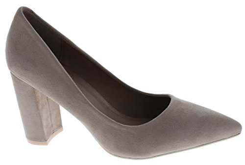 Closed on Cambridge Chunky Taupe Toe Pointed Imsu Heel Select Block Wrapped Women's Pump Slip xnrwtIr