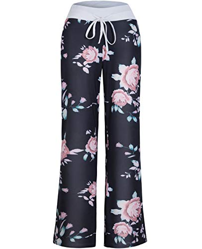 (Anyou Women Elastic Waist Floral Printed Pajama Pants with Drawstring Size Small)