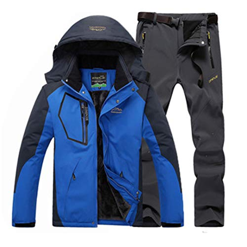 KEhuiyeau Men's Winter Warm Fleece Pants Hiking Camping Trousers Outdoor Sport Waterproof Jacket Coats Color Blue Gray XXL ()